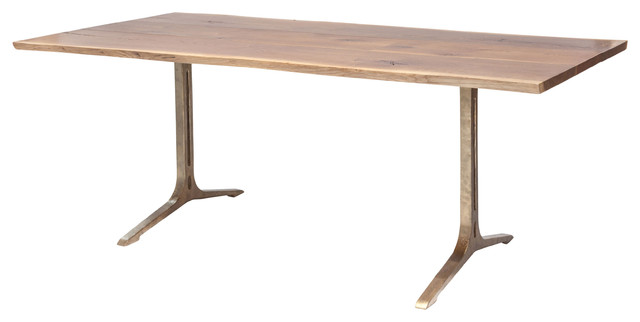 Samara Dining Bench With Cast Iron Legs, Top: Smoked Oak, Base: Bronze