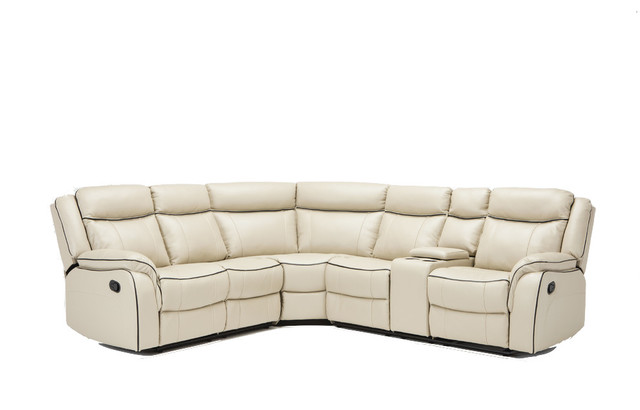 Clic Large Bonded Leather Reclining Corner Sectional Sofa Beige