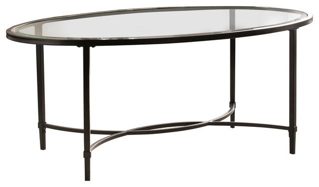 Berton Metal/Glass Oval Cocktail Table, Black