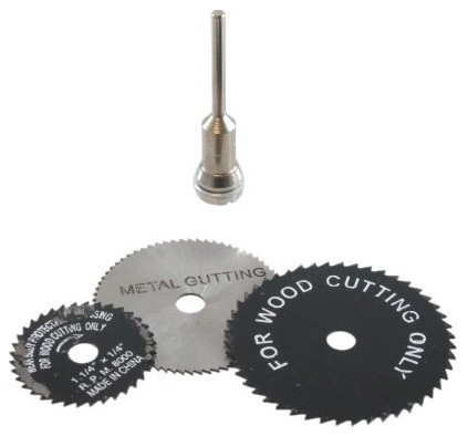 4pc. Saw Blade Set With Mandrel, For Use With Drill.