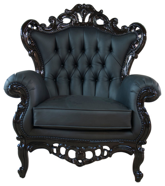 Perfect Full Polyurethane King Armchair, Black