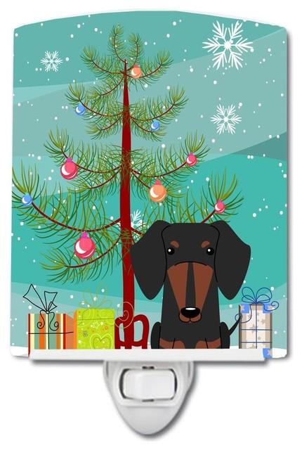 Merry Christmas Tree Dachshund Black Tan Ceramic Night Light