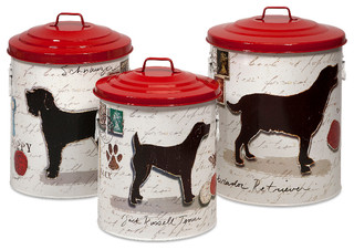 Modern set of 3 dog food storage canisters with red lids for Hearth and home designs canister set