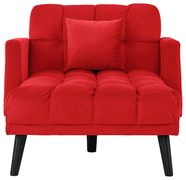 Velvet Sleeper Chair Chaise Lounge, Reclining Futon Single Seater, Red
