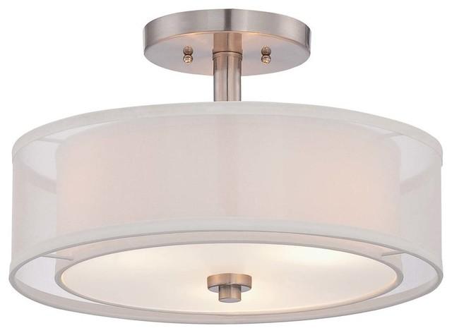 3-Light Drum/cylinder Semi Flush Mount.