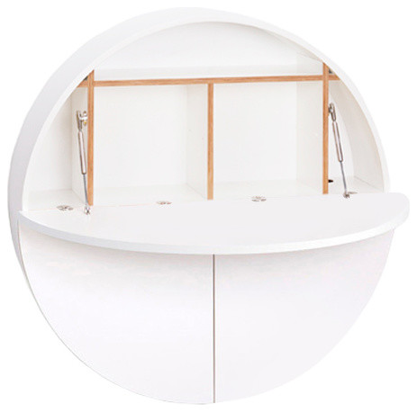 Multifunctional Pill Fold-Out Convertible Wall-Mounted Desk, White.