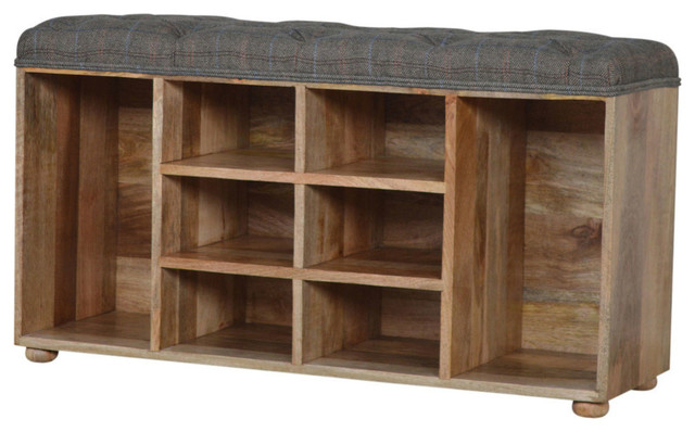 Charmant Country Style Shoe Cabinet With Upholstered Buttoned Top Seat