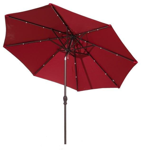 Captivating Aluminum Umbrella With Solar Powered LED Lights, Tilt And Crank