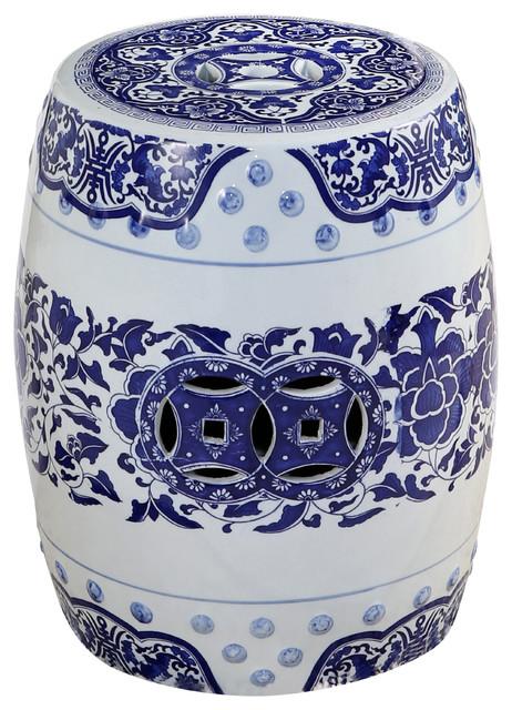 Fine Abbyson Living Chinese Ceramic Garden Stool Blue Pabps2019 Chair Design Images Pabps2019Com