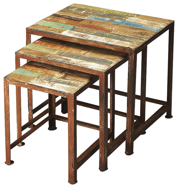 Butler Decatur Recycled Wood U0026 Iron Nesting Tables, 3 Piece Set
