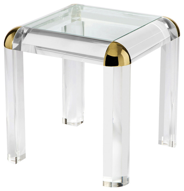 Evalyn Modern Classic Brass Corner Acrylic End Table Modern Side Tables And  Part 53