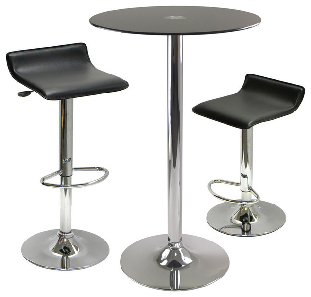 Superieur Winsome Wood Rossi 3 Piece Round Glass Pub Table W/ 2 Air Lift Adjustable  Stools