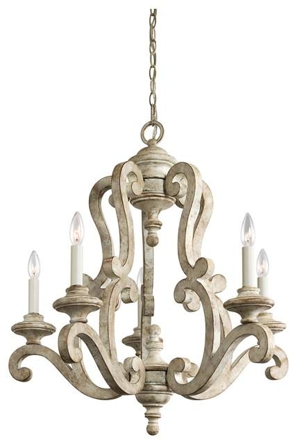 5-Light Standard Bulb Chandelier, Distressed Antique White - 5-Light Standard Bulb Chandelier, Distressed Antique White