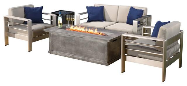 4-Piece Outdoor Aluminum Fire Table Sofa Set