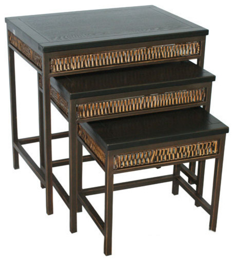 Safavieh Reed Stacking Tables Black And Dark Walnut Set Of 3 Transitional Coffee Table