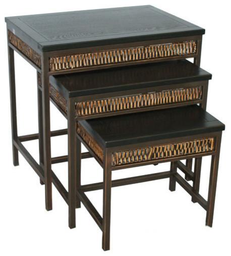 Safavieh reed stacking tables black and dark walnut set