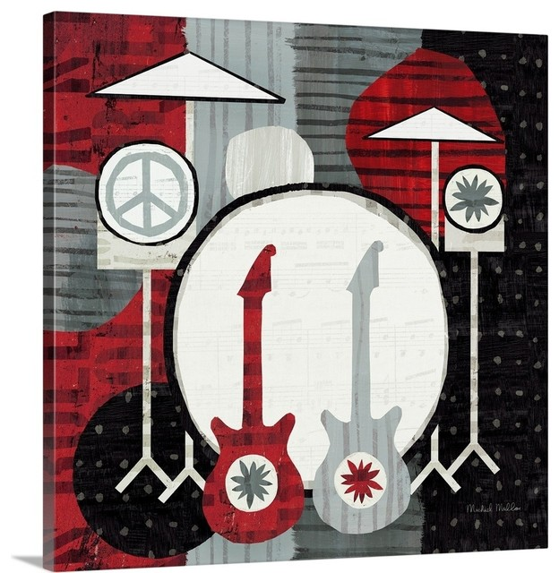Rock 'n Roll Drums Wrapped Canvas Art Print, 16