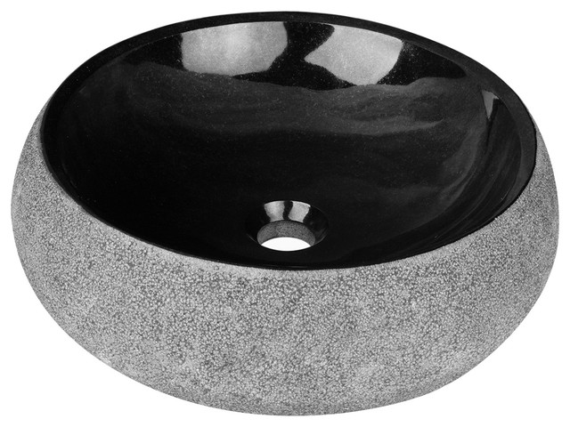 Elvis Round Stone Vessel Sink, Black Granite With Rough Exterior    Contemporary   Bathroom Sinks   By Maykke