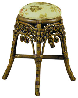 Classic Vanity Stool in Brown Wash, San Remo Fabric