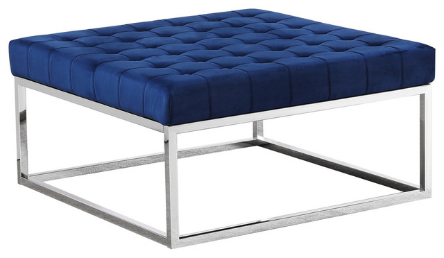 Fine Upholstered Square Ottoman Coffee Table With Silver Base E36 Navy Blue Short Links Chair Design For Home Short Linksinfo
