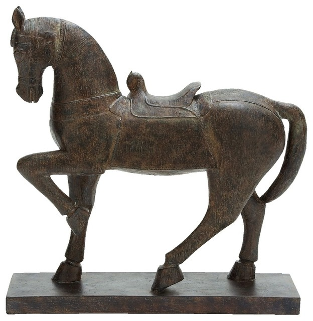 prancing horse statue figurine brown resin base bridle home decor