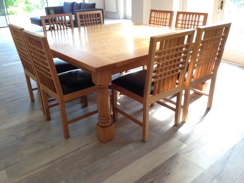 6ft square solid oak kitchen table and chairs