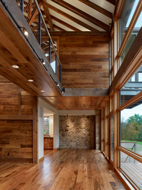 HERITAGE Reclaimed Oak and WORMWOOD Reclaimed Chestnut - Barn Renovation  contemporary