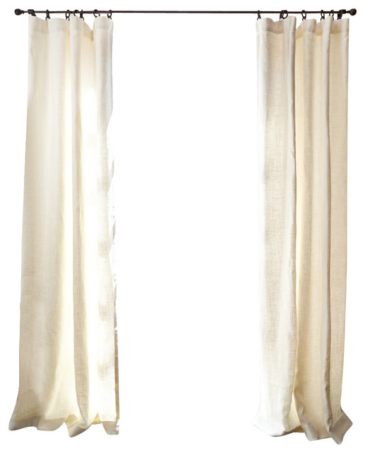 Belgian Linen Drapery, Oyster, 50x120, 100% Cotton Lined transitional-curtains
