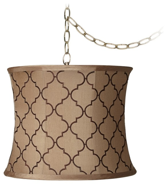 "Lamps Plus - Traditional Brown Moroccan Tile 14""W Antique Brass Plug-In Chandelier - View in ..."