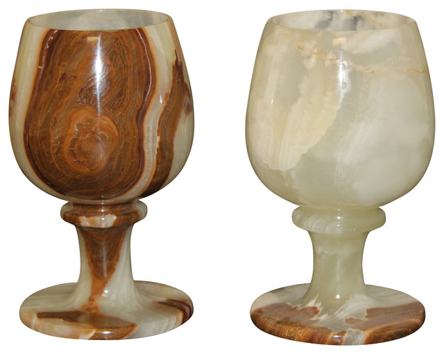 marble products international - multi onyx wine glasses