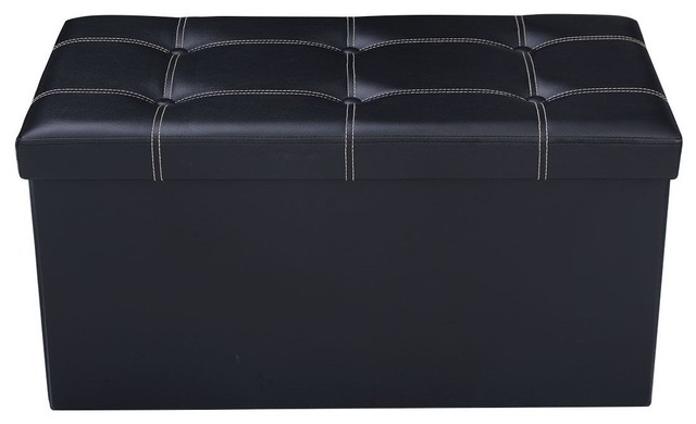 Fine Modern 30 Large Folding Ottoman Storage Seat Black Andrewgaddart Wooden Chair Designs For Living Room Andrewgaddartcom