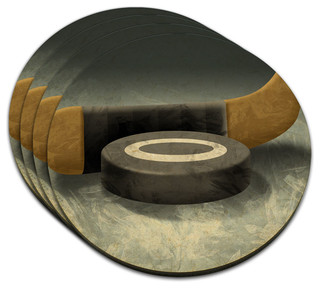 Hockey Puck and Stick MDF Wood Coaster, Set of 4 - Contemporary - Coasters - by Made on Terra