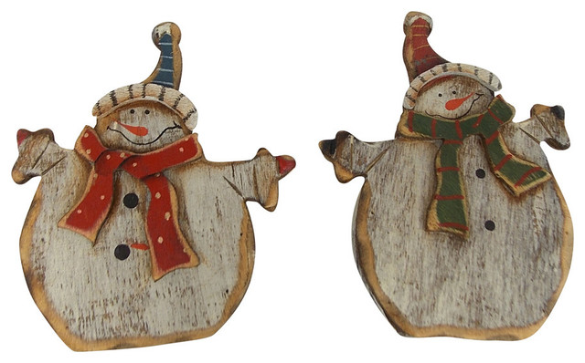 "3""x 3.75"" 2 Assorted Wooden Snowman. Product Sold As A Set Of 2.."