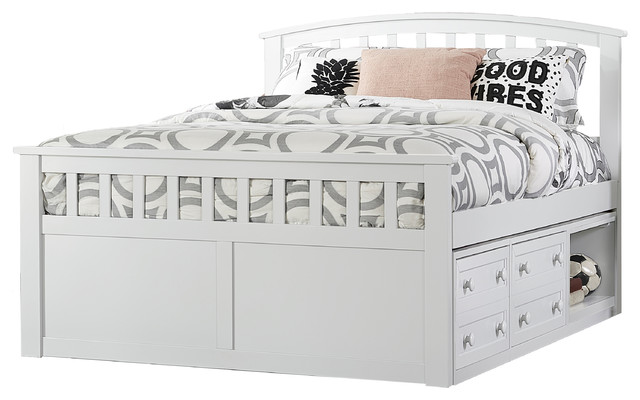 Charlotte White Full Size Captains Bed Transitional Kids Beds