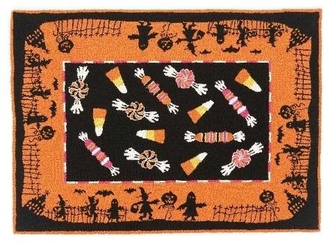 peking handicraft halloween candy rectangular orange hook rug traditional novelty rugs - Halloween Rugs