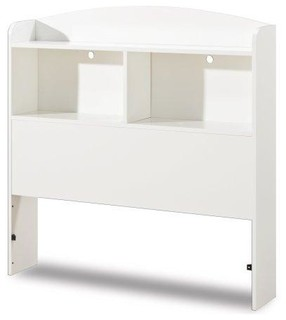 Twin Size Modern Arched Top Bookcase Headboard, White