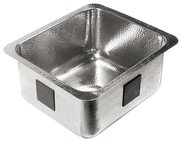 """Wilson Undermount Crafted Stainless 17"""" Bar Prep Sink, Polished Stainless"""