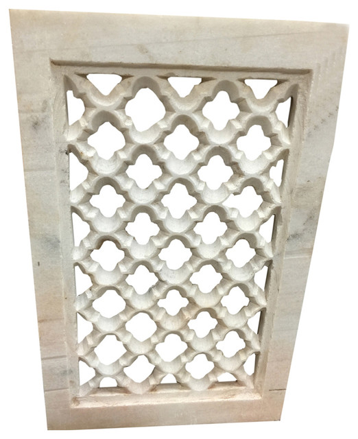 Consigned Jali Hand-Carved Architectural Antique Marble Window.