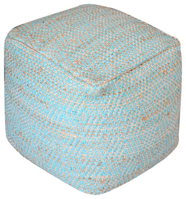 Ada Hand Woven Aqua Fabric Pouf.