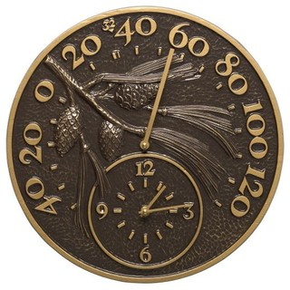 """American Crafted 14"""" Pinecone Clock and Thermometer, French Bronze"""
