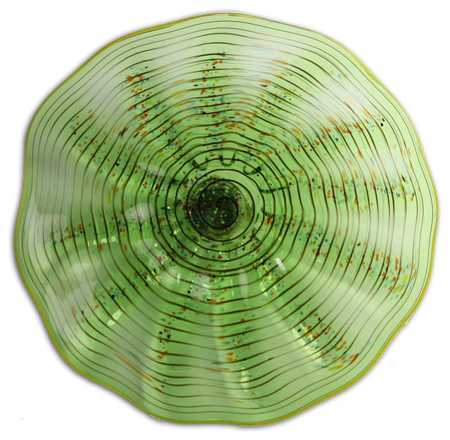 Green Iridescent Classic Wall Art Glass Plate  sc 1 st  Houzz & Green Iridescent Classic Wall Art Glass Plate - Contemporary ...