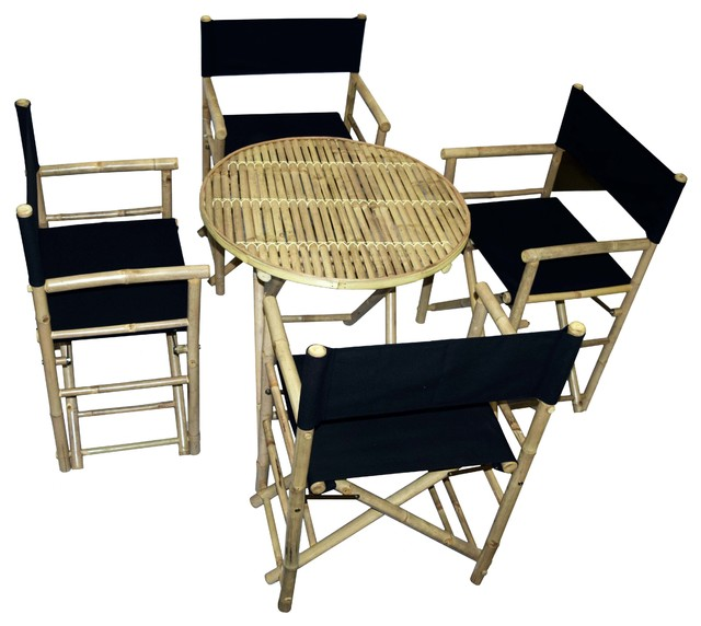 Bamboo Round Table and Director Chairs 5-Piece Set, Black