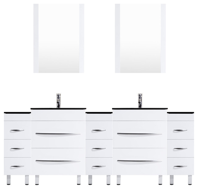 "108"" White Vanity, 36"" Double Sink Bases, Triple 12 Drawer Bases, LV4-C21-108-W"