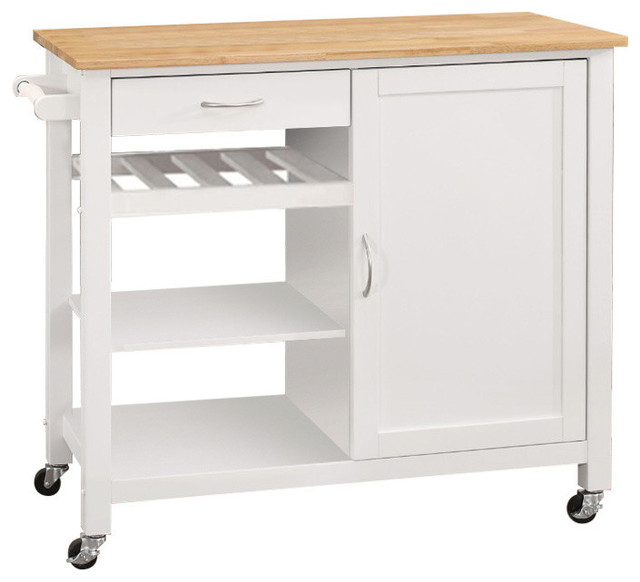 Kitchen Cart With Wooden Top, Natural And White.