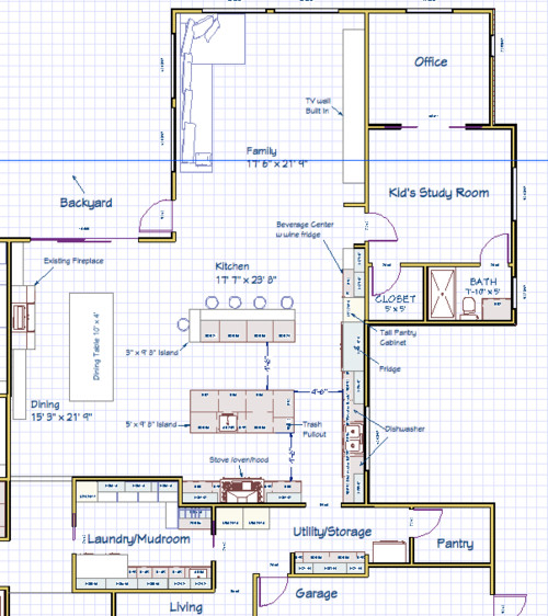 Kitchen Island Floor Plan need help with kitchen island layout. double island?? bad idea?