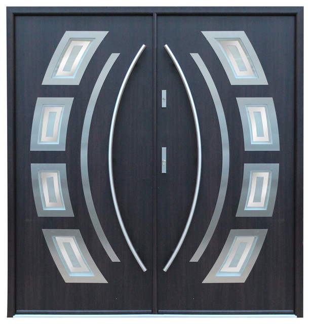 Stainless Steel Modern Entry Double Door, Wenge Finish, Right Hand Inswing.