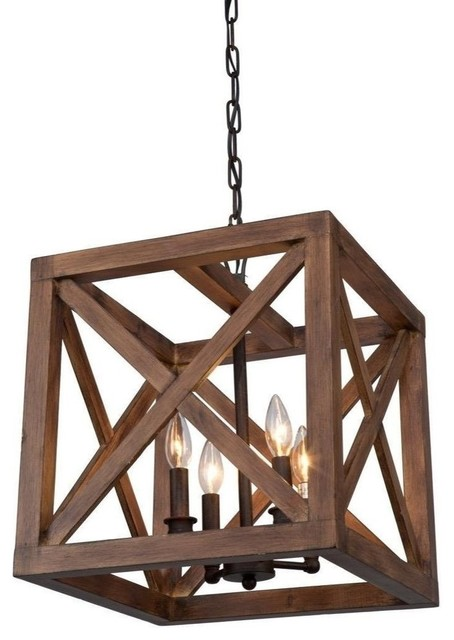 Wood Cube Authentic Wooden Cage Pendant Lamp 4 Lights.