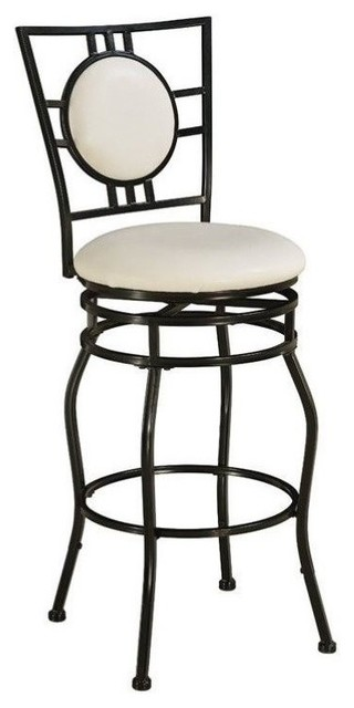 Pemberly Row Adjustable Faux Leather Swivel Bar Stool In