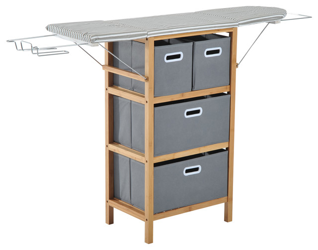 Collapsible Ironing Board And Shelving Unit With Storage Boxes.