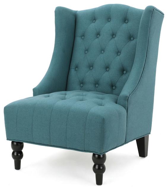 Adriana Tall Wingback Tufted Fabric Club Chair Beach Style